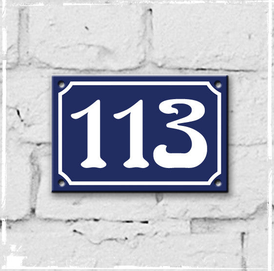 Blue - french enamel house number - 113, Art Nouveau typeface