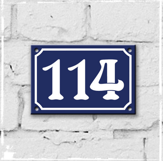 Blue - french enamel house number - 114, Art Nouveau typeface