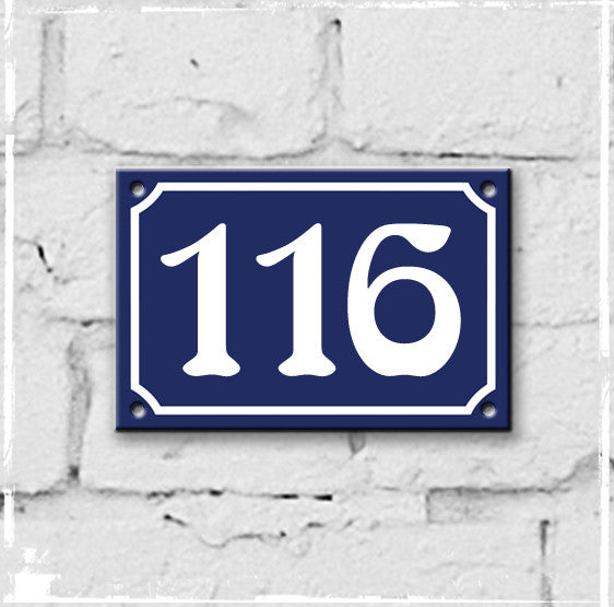 Blue - french enamel house number - 116