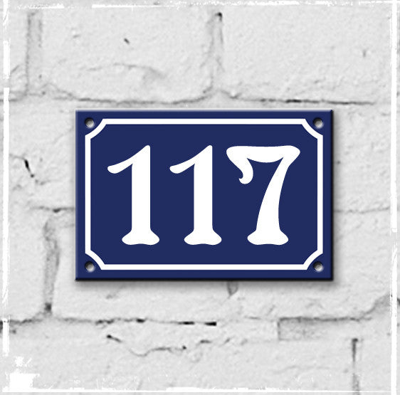 Blue - french enamel house number - 117