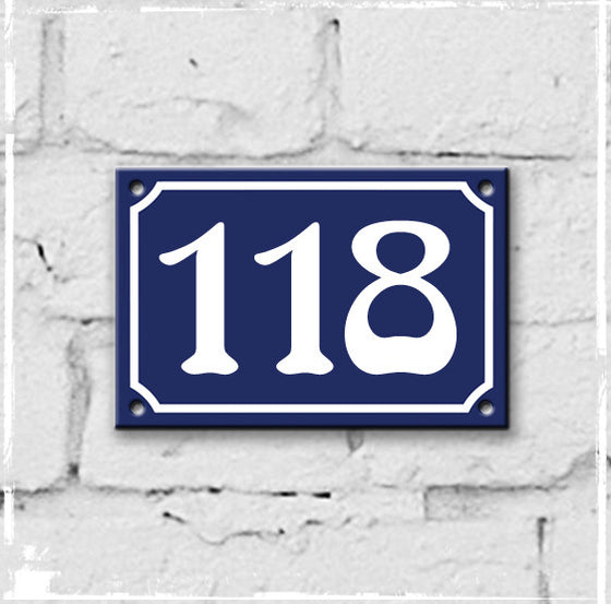 Blue - french enamel house number - 118, Art Nouveau typeface