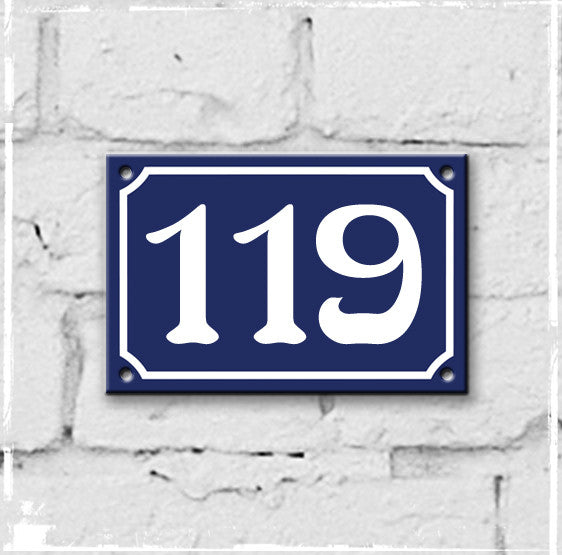 Blue - french enamel house number - 119, Art Nouveau typeface