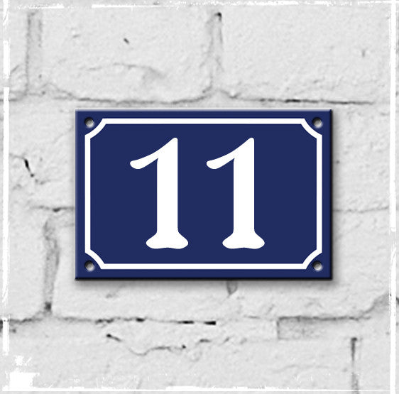 Blue - french enamel house number - 11, Art Nouveau typeface