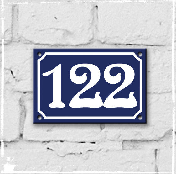 Blue - french enamel house number - 122