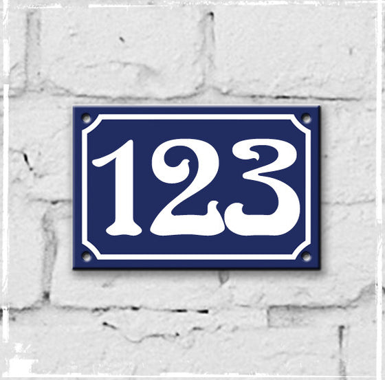 Blue - french enamel house number - 123, Art Nouveau typeface