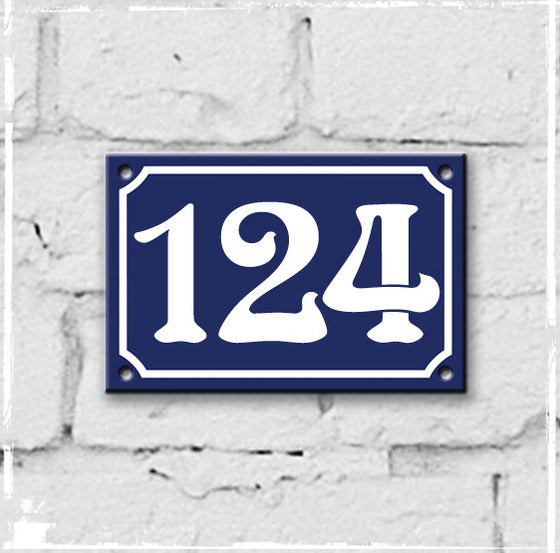 Blue enamel French house number 124