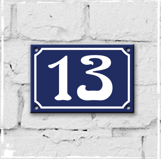 Blue - french enamel house number - 12, Art Nouveau typeface