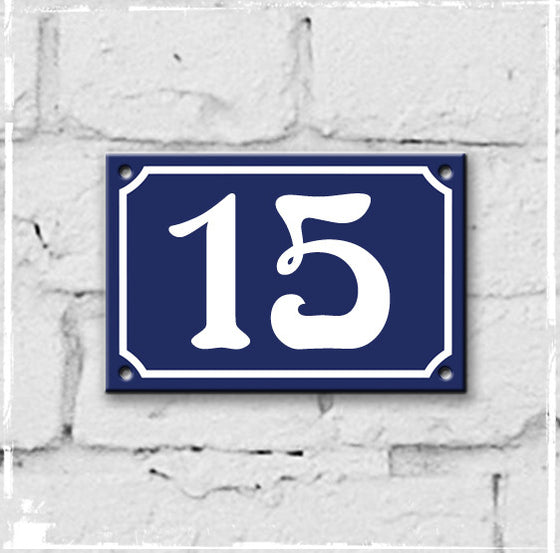 Blue - French enamel house number - 15, Art Nouveau typeface