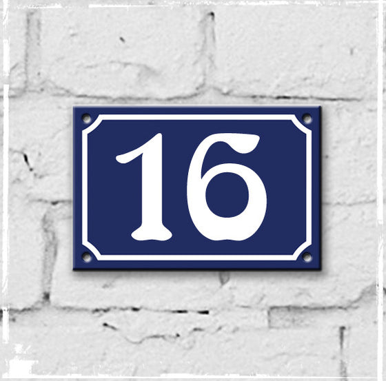 Blue - French enamel house number - 16, Art Nouveau typeface