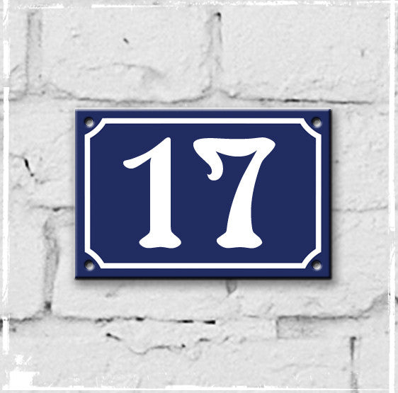 Blue - French enamel house number - 17, Art Nouveau typeface