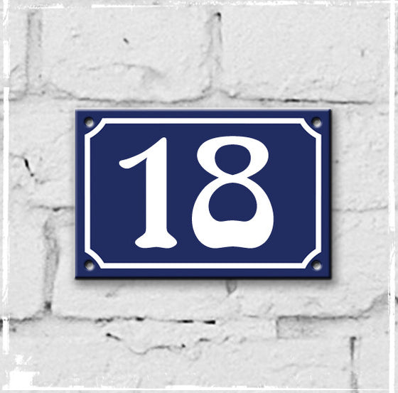 Blue - French enamel house number - 18, Art Nouveau typeface