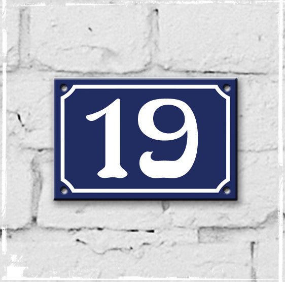 Blue - French enamel house number - 19, Art Nouveau typeface