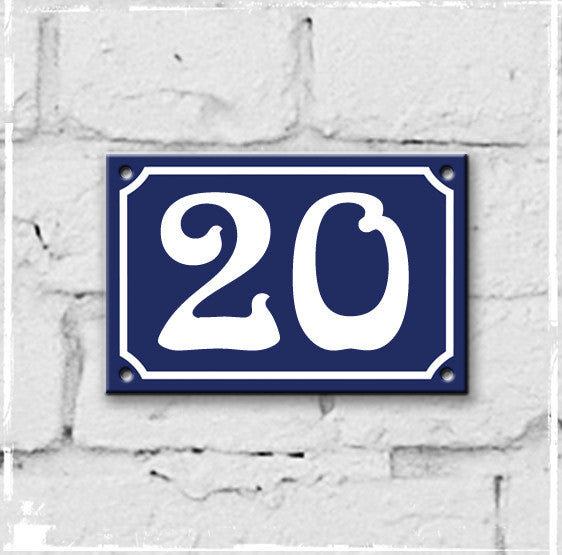 Blue - French enamel house number - 20, Art Nouveau typeface