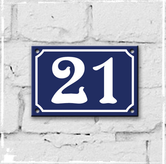 Blue - French enamel house number - 21, Art Nouveau typeface
