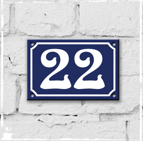 Blue - French enamel house number - 22, Art Nouveau typeface