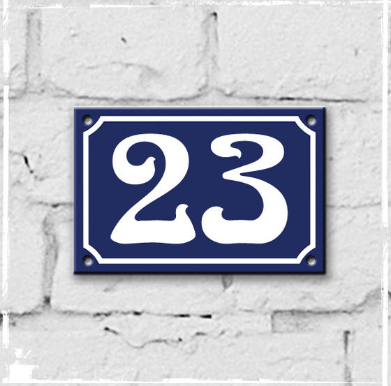 Blue - French enamel house number - 23, Art Nouveau typeface