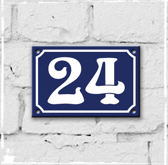 Blue - french enamel house number - 24, Art Nouveau typeface