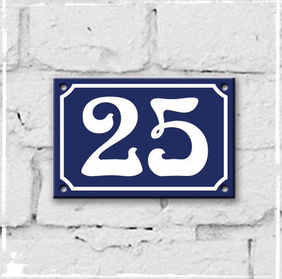 Blue - french enamel house number - 25, Art Nouveau typeface
