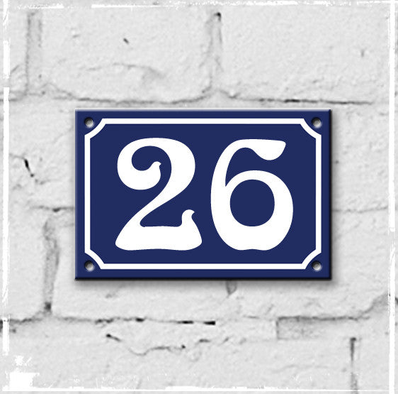 Blue - french enamel house number - 26, Art Nouveau typeface