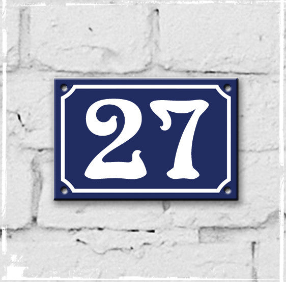Blue - french enamel house number - 27, Art Nouveau typeface