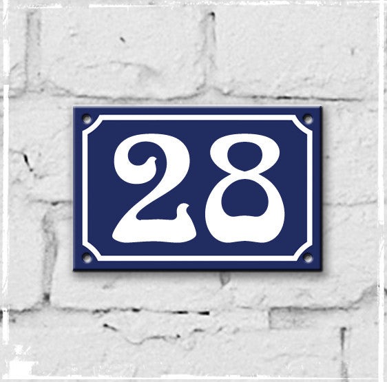 Blue - french enamel house number - 28, Art Nouveau typeface
