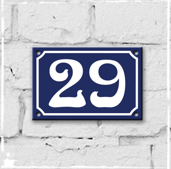 Blue - french enamel house number - 29, Art Nouveau typeface