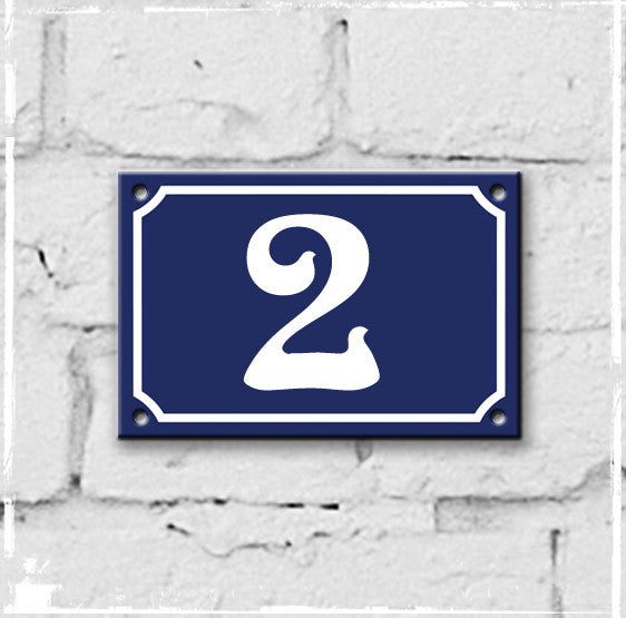 Blue - french enamel house number - 2, Art Nouveau typeface