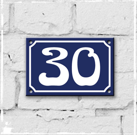 enamel house number 30