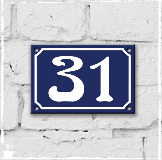 Blue - french enamel house number - 31, Art Nouveau typeface