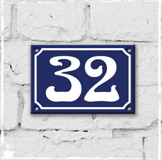 Blue and white enamel house number 32