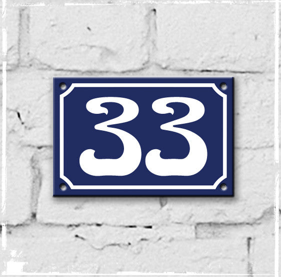 Blue - french enamel house number - 33