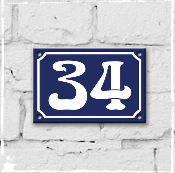 Blue - french enamel house number - 34