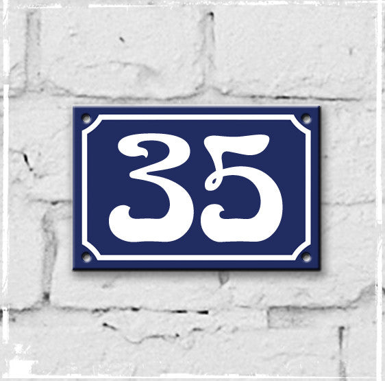 Blue - french enamel house number - 35