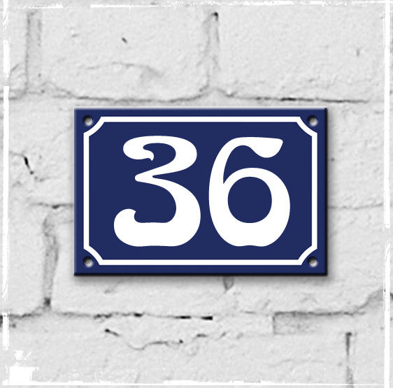 Blue - french enamel house number - 36