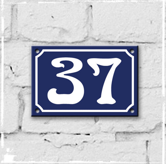 Blue - french enamel house number - 37, Art Nouveau typeface