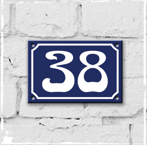 Blue - french enamel house number - 38
