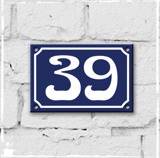 Blue - French enamel house number - 39, Art Nouveau typeface