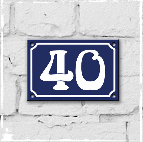 Blue - french enamel house number - 40