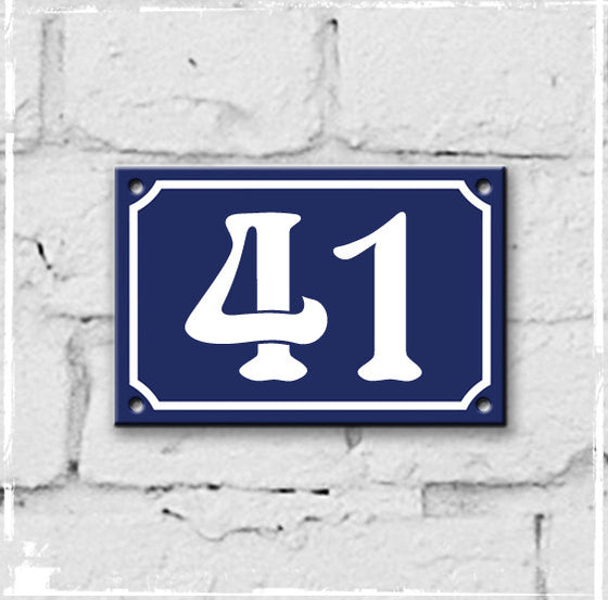 Blue - french enamel house number - 41, Art Nouveau typeface