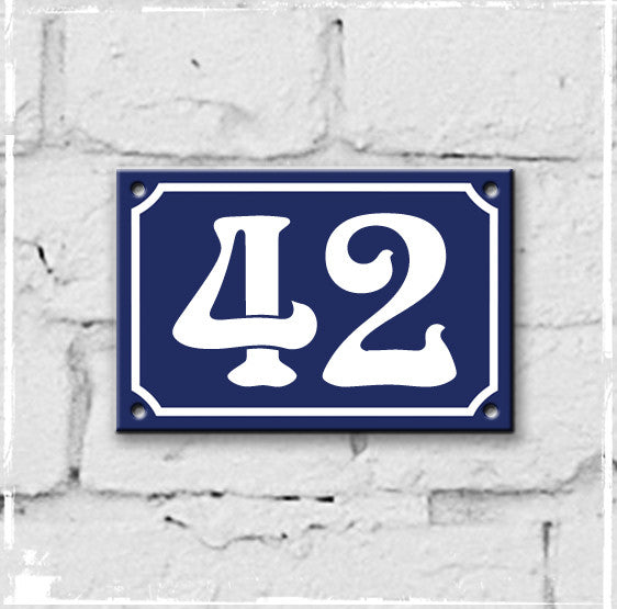Blue - french enamel house number - 42, Art Nouveau typeface