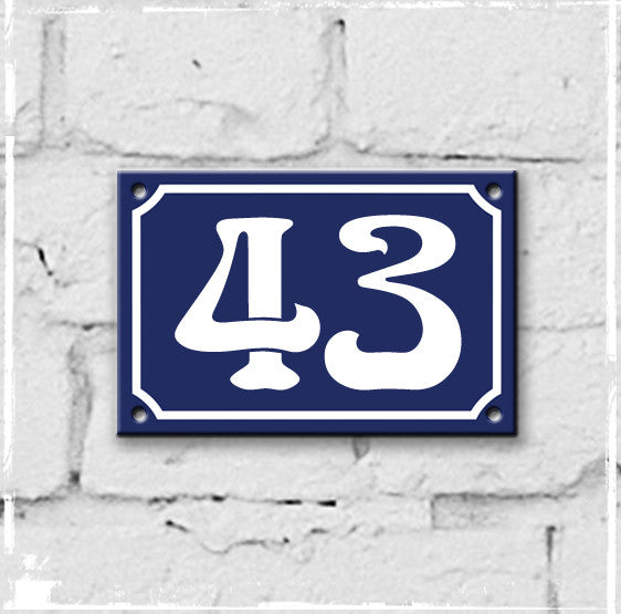 Blue - french enamel house number - 43