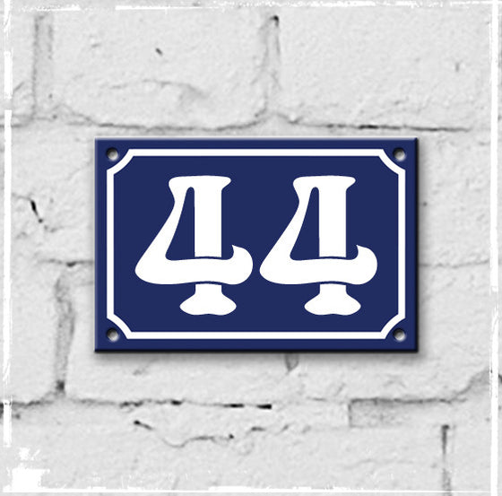 Blue - french enamel house number - 1, Art Nouveau typeface