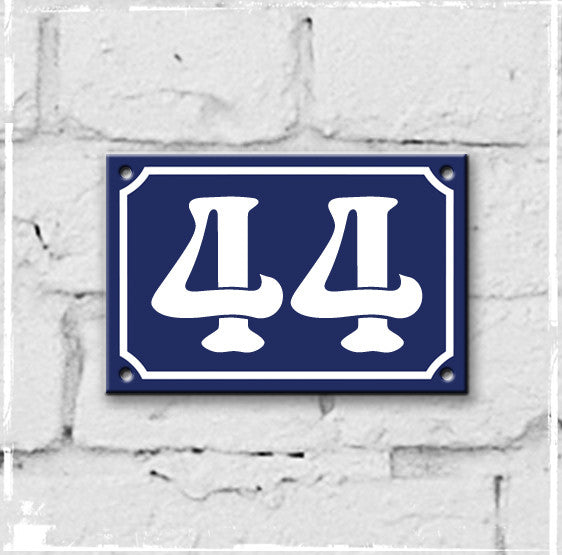 Blue - french enamel house number - 44