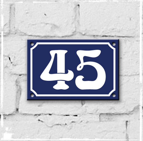 Blue - french enamel house number - 45, Art Nouveau typeface