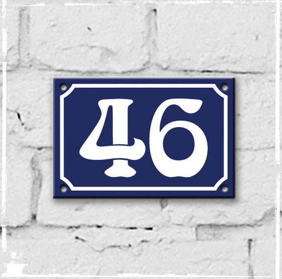 Blue - french enamel house number - 46, Art Nouveau typeface