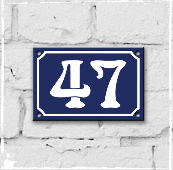 Blue - french enamel house number - 47, Art Nouveau typeface