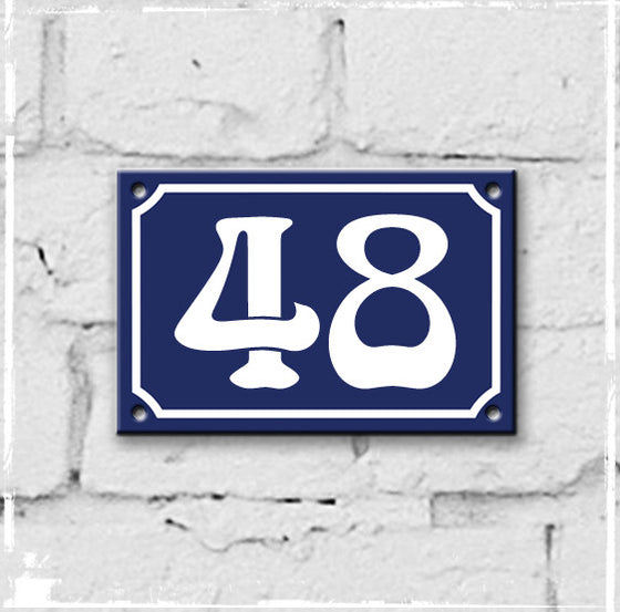 Blue - french enamel house number - 48
