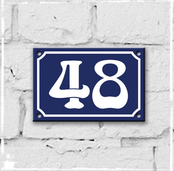 Blue - french enamel house number - 48, Art Nouveau typeface