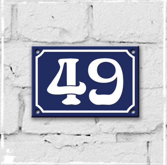 Blue - french enamel house number - 49