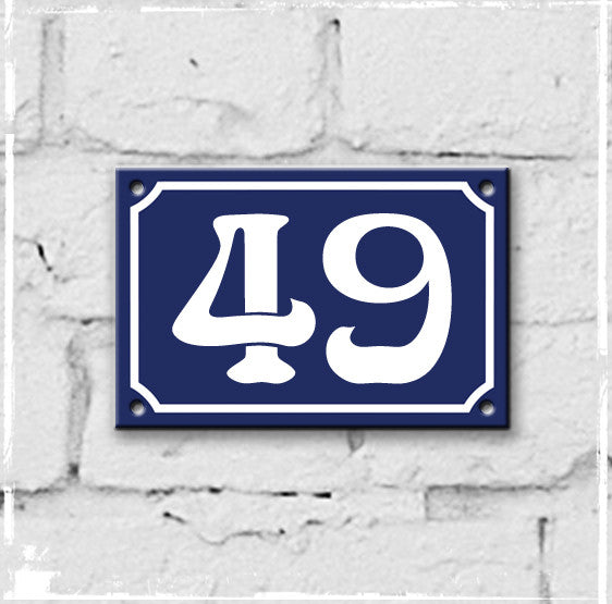 Blue - french enamel house number - 49, Art Nouveau typeface